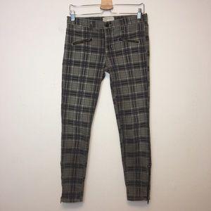 Current Elliot Plaid Soho Zipped Ankle Crop Jeans